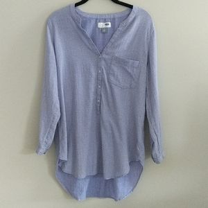 Old Navy Tunic Pullover Top Buttons Hi Low Hem M